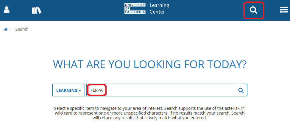 Search box with FERPA entered