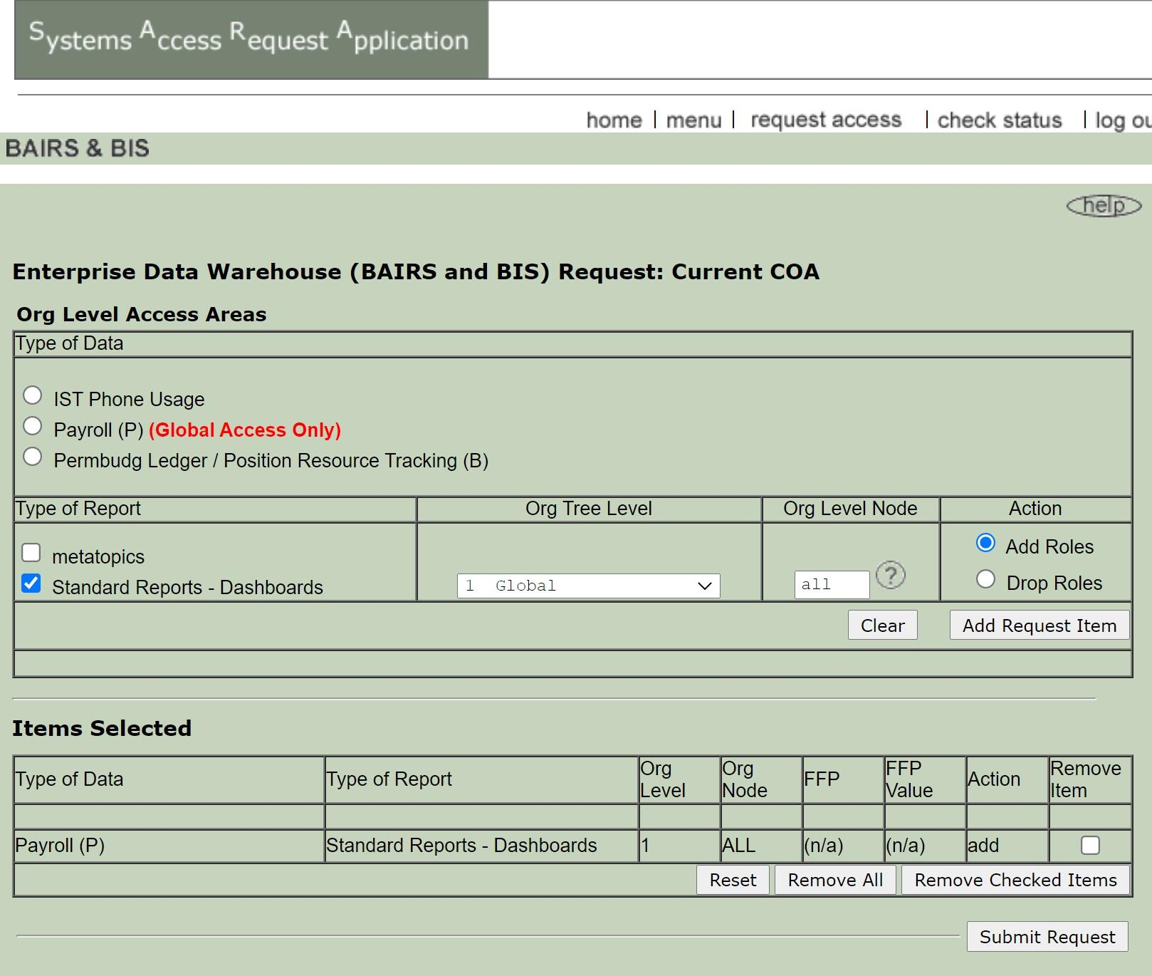 Payroll access request form