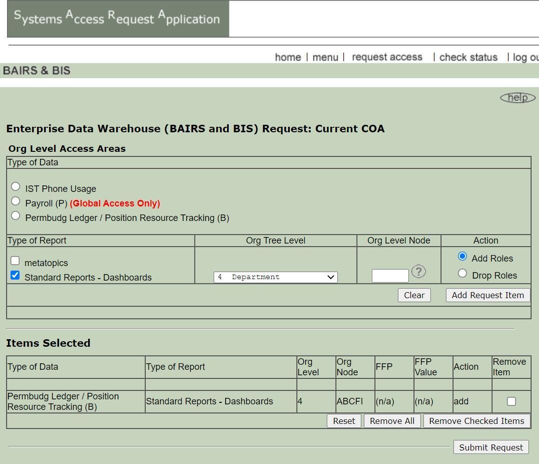 Permanent Budget access request form