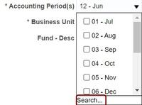 drop-down list of accounting periods with Search circled at the bottom of the list