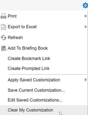 Page Options menu