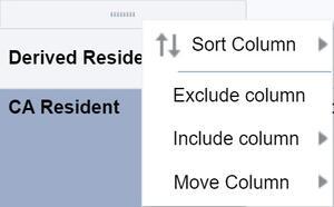 Context sensitive column options menu