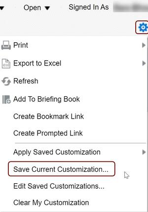 Save current customization on page options menu