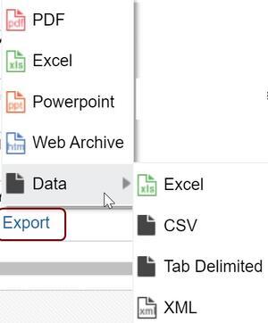 Export menu displayed when Export link is clicked