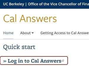 log in to Cal Answers dialog box