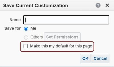 Save current customization with default highlighted